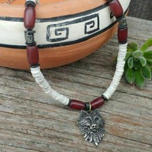 Vintage Pewter Wolf Bead & Shell Necklace - unisex